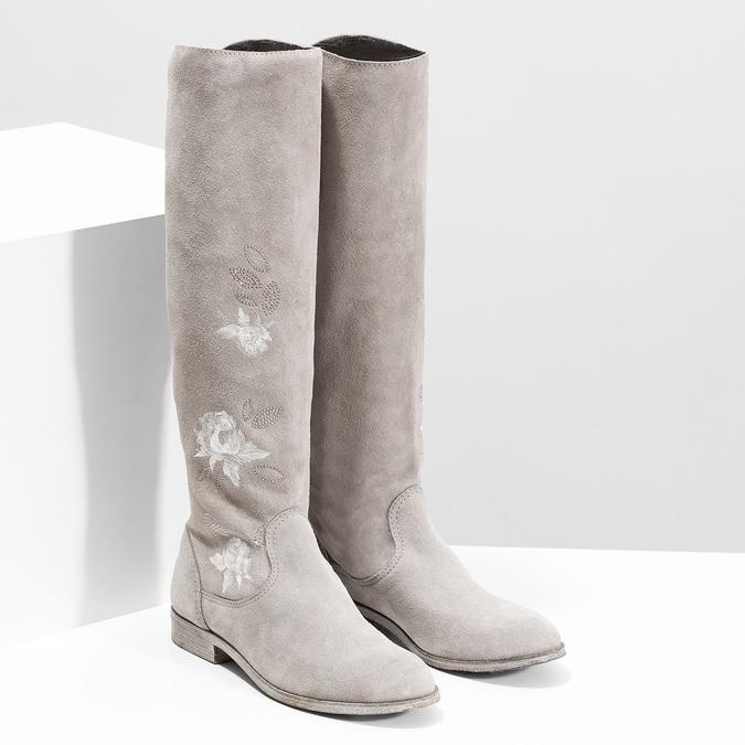 Kozačky s výšivkou a kamínky bata, šedá, 596-2687 - 26