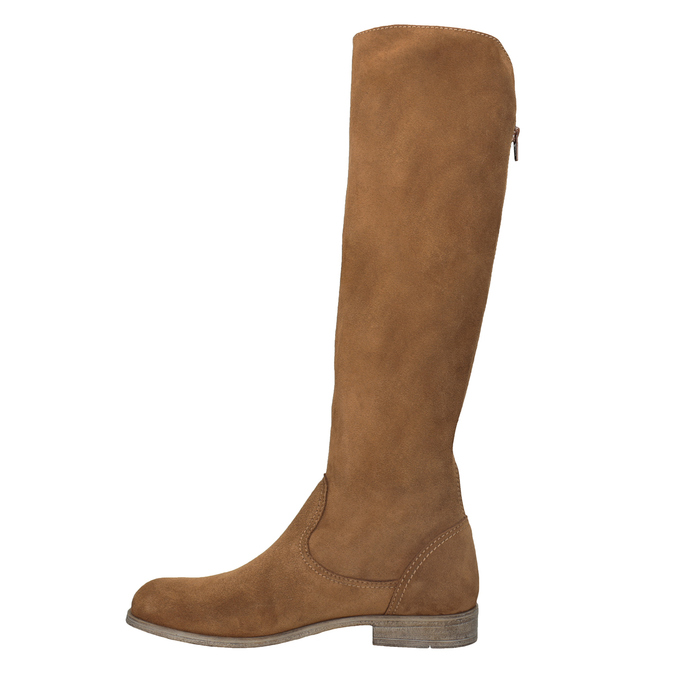Kožené kozačky s výšivkou bata, hnědá, 596-4687 - 17