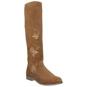 Kožené kozačky s výšivkou bata, hnědá, 596-4687 - 13