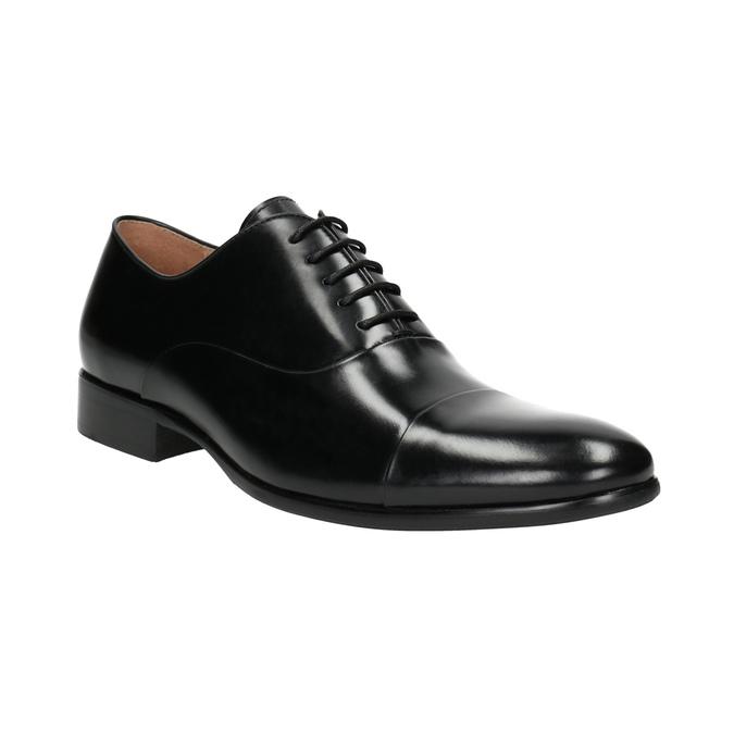 Černé kožené polobotky v Oxford střihu bata, černá, 824-6626 - 13