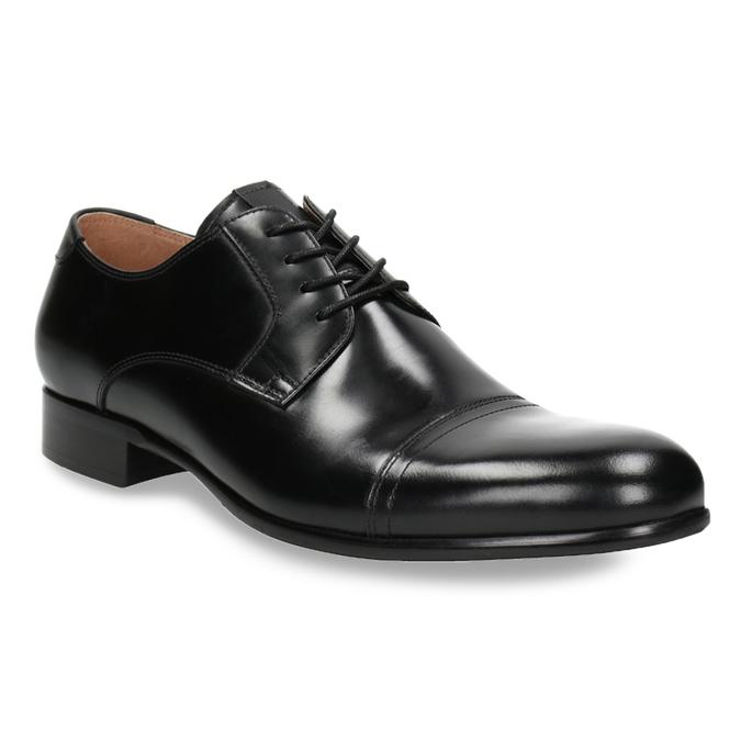 Černé kožené Derby polobotky bata, černá, 824-6863 - 13