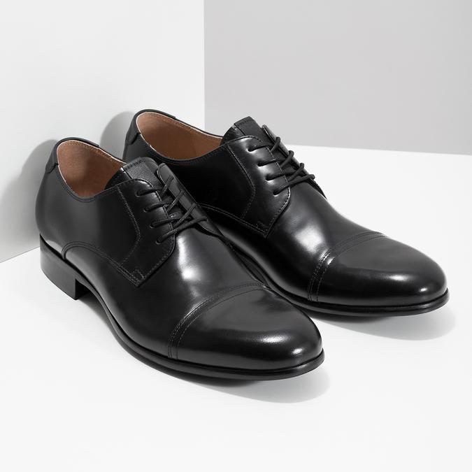 Černé kožené Derby polobotky bata, černá, 824-6863 - 26