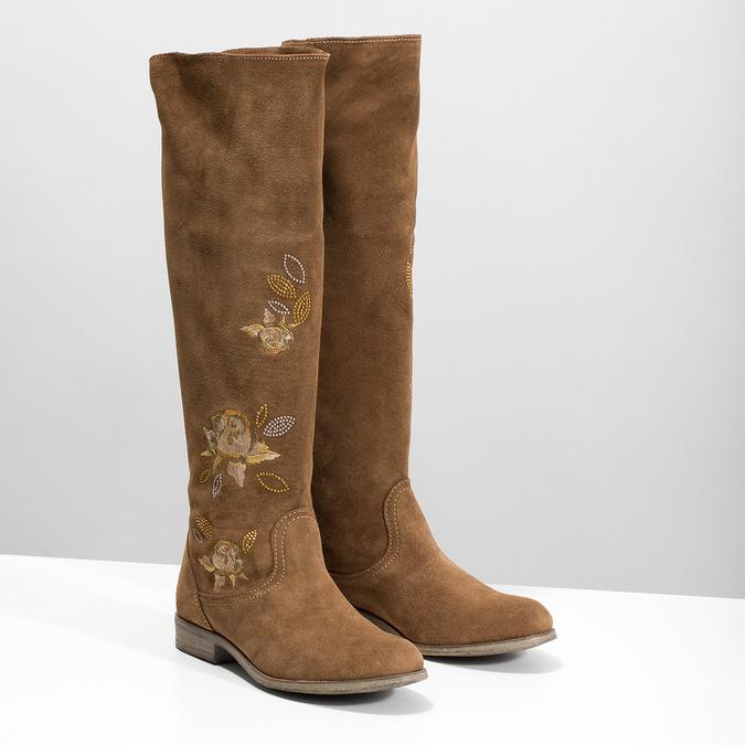 Kožené kozačky s výšivkou bata, hnědá, 596-4687 - 26