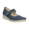 Kožené baleríny na klínovém podpatku bata, modrá, 626-9645 - 13