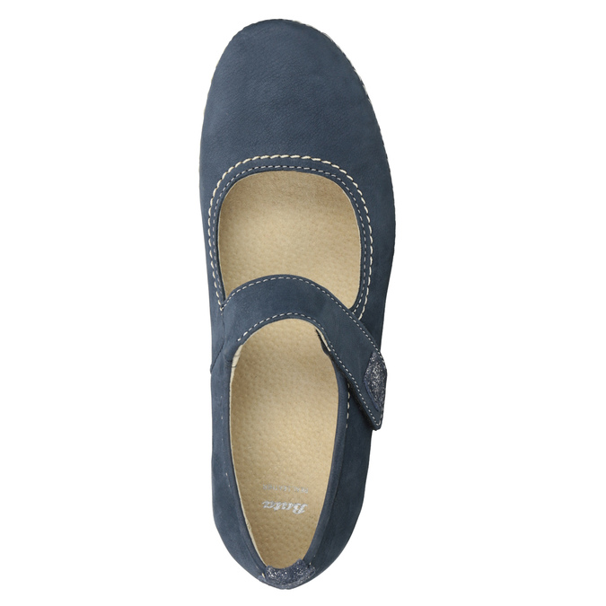 Kožené baleríny na klínovém podpatku bata, modrá, 626-9645 - 15