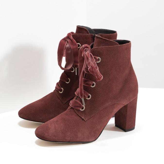 Kožené červené kotníčkové boty bata, červená, 793-5613 - 16