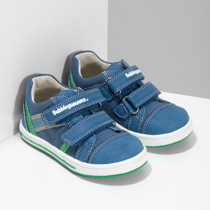 Modré dětské tenisky se zeleným detailem bubblegummers, modrá, 111-9625 - 26