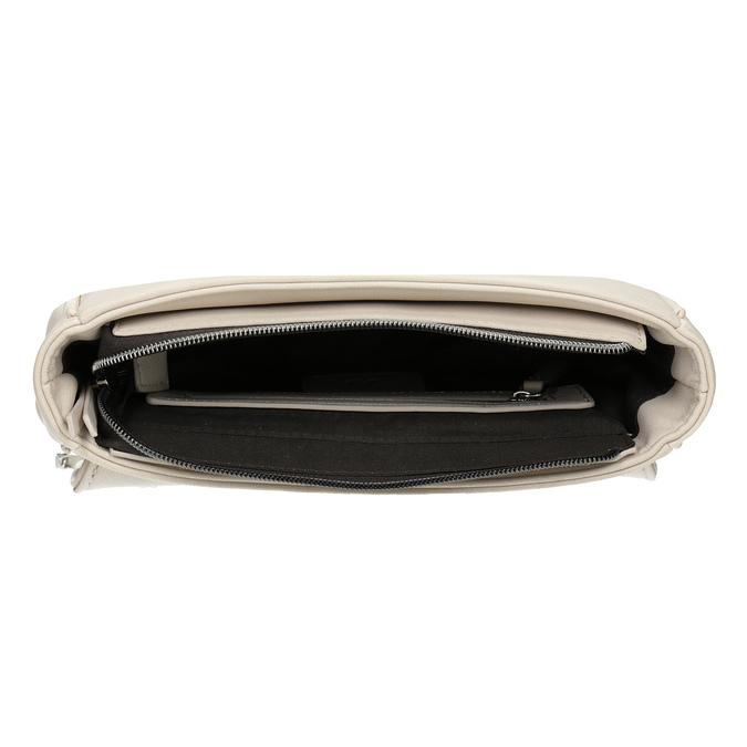 Crossbody kabelka s prošitím na klopě bata, béžová, 961-1826 - 15