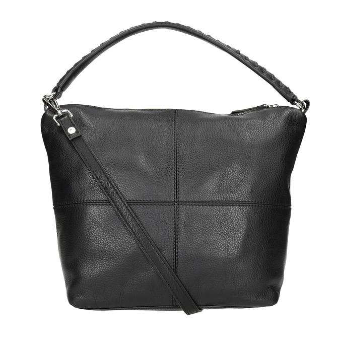 Kožená Hobo kabelka s prošitím bata, černá, 964-6290 - 16