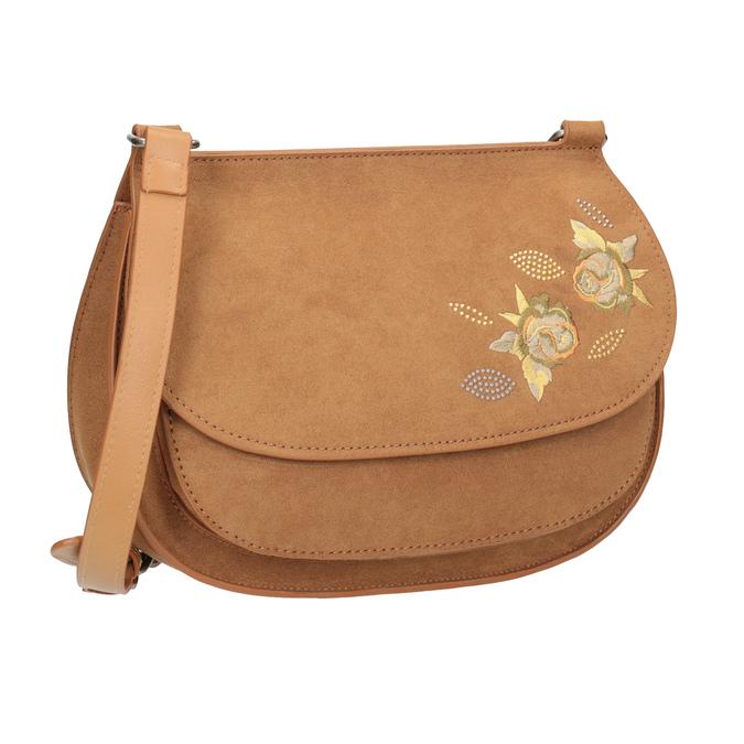 Crossbody kabelka s výšivkou bata, hnědá, 969-4686 - 13