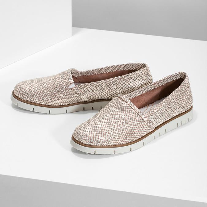 Dámské kožené Slip-on boty na výrazné podešvi flexible, 536-5603 - 16