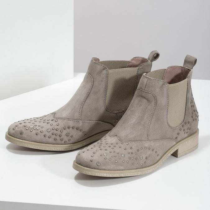 Kožené kotníčkové boty s kovovou aplikací bata, béžová, 596-2690 - 16