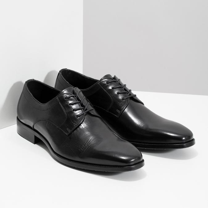 Černé kožené Derby polobotky bata, černá, 824-6981 - 26
