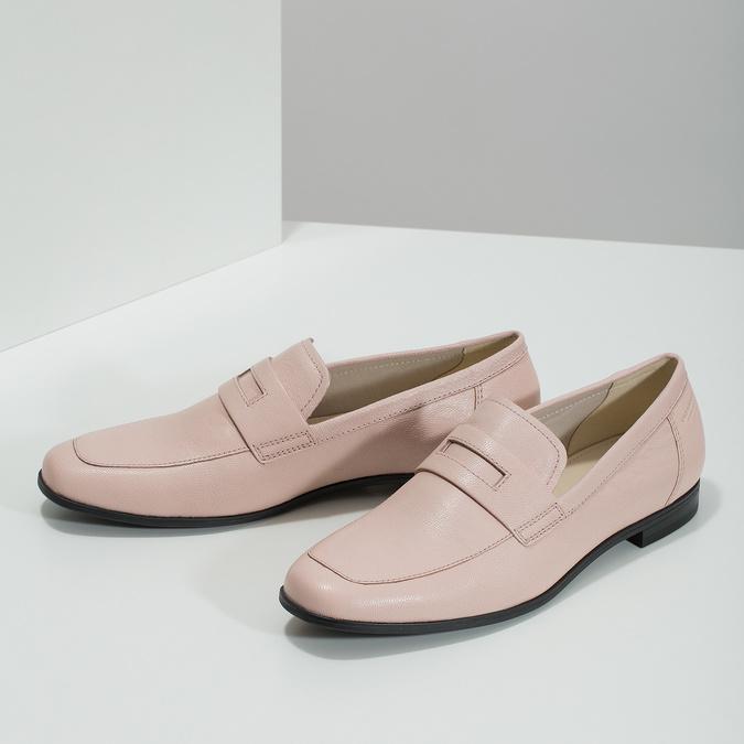 Růžové kožené Penny Loafers vagabond, růžová, 514-8094 - 16