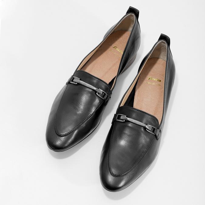 Kožené dámské mokasíny s přezkou bata, černá, 516-6619 - 16