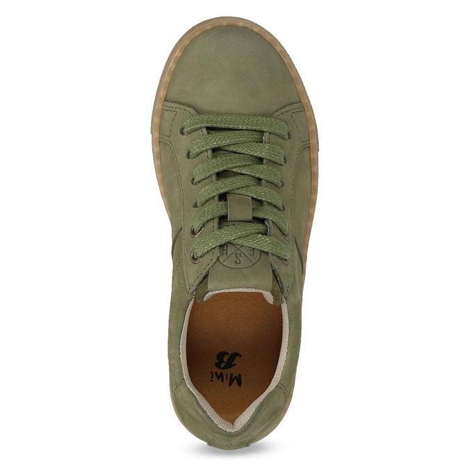 Dětské zelené kožené tenisky mini-b, khaki, 416-7601 - 17
