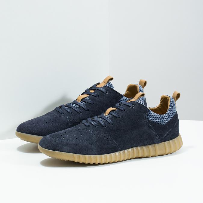 Pánské tenisky z broušené kůže modré bata, 843-9634 - 16