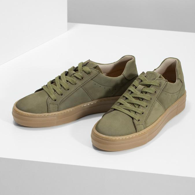 Dětské zelené kožené tenisky mini-b, khaki, 416-7601 - 16