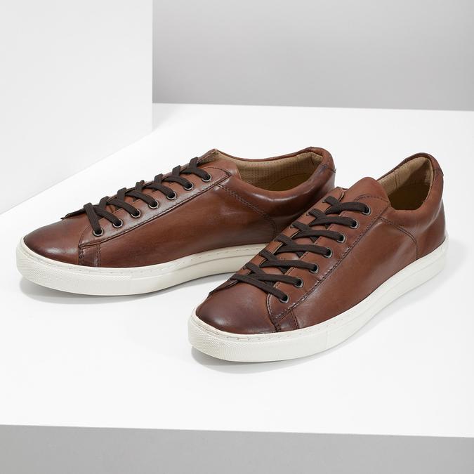 Kožené pánské tenisky bata, hnědá, 846-4648 - 16