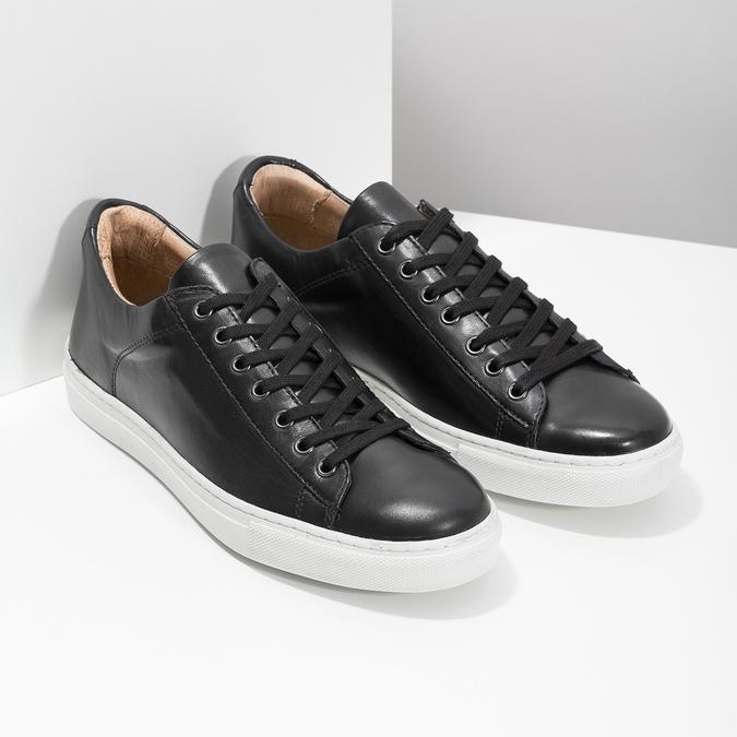 Pánské kožené tenisky bata, černá, 844-6648 - 26