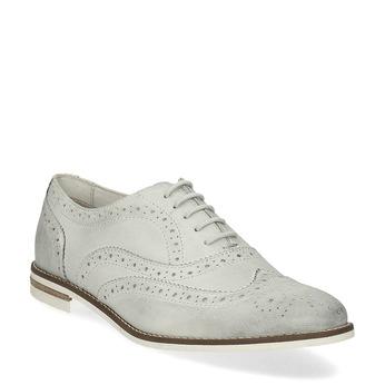 Dámské kožené Brogue polobotky bata, šedá, 526-1649 - 13