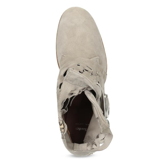 Kožené kotníčkové kozačky s průstřihy bata, šedá, 596-2689 - 17