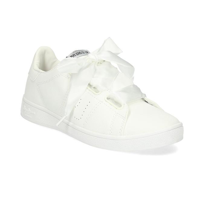 Bílé tenisky se saténovou mašlí pepe-jeans, bílá, 541-1076 - 13
