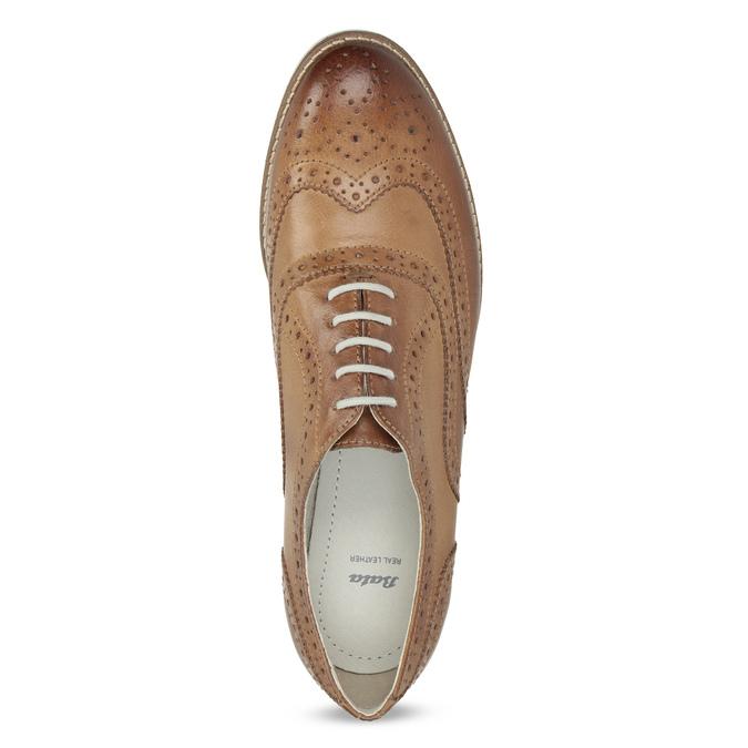 Hnědé dámské kožené polobotky bata, hnědá, 526-3649 - 17