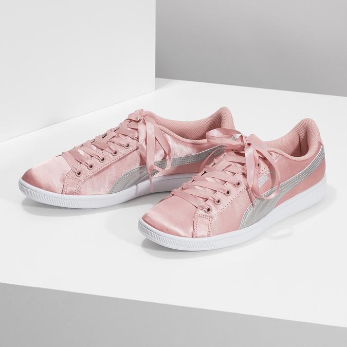Růžové saténové tenisky s mašlí puma, růžová, 509-5718 - 16