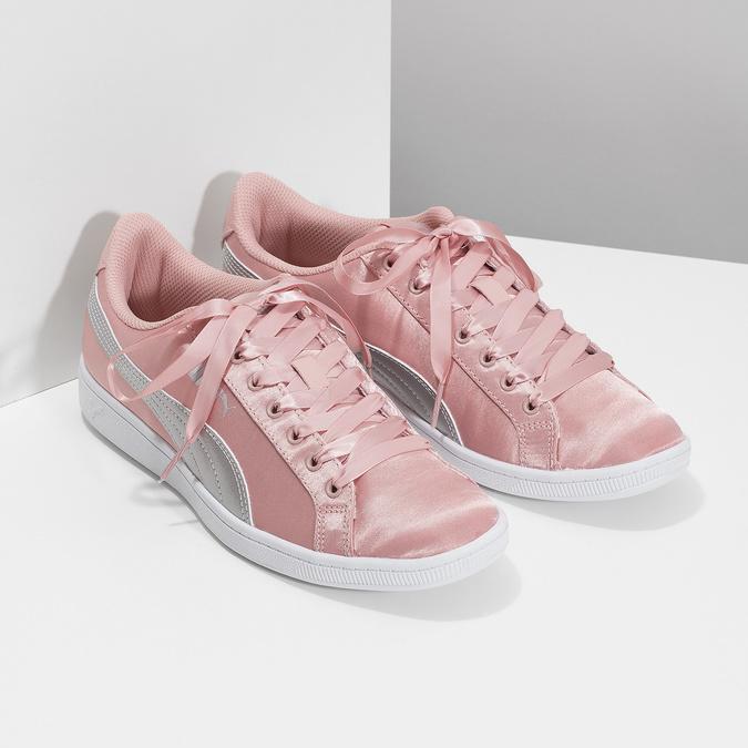 Růžové saténové tenisky s mašlí puma, růžová, 509-5718 - 26