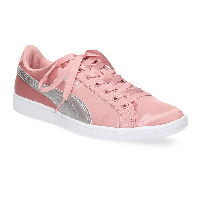Růžové saténové tenisky s mašlí puma, růžová, 509-5718 - 13