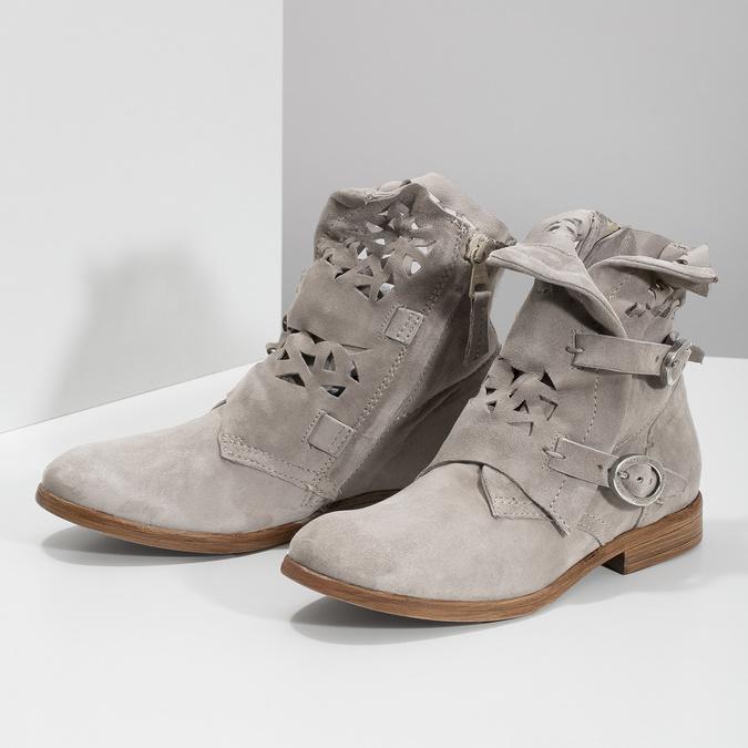 Kožené kotníčkové kozačky s průstřihy bata, šedá, 596-2689 - 16
