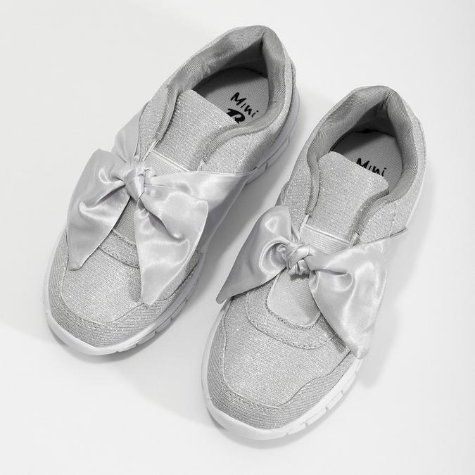 Stříbrné dívčí tenisky s mašlí mini-b, stříbrná, 329-1341 - 16