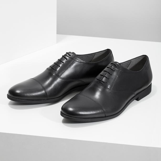 Černé kožené Oxford polobotky vagabond, černá, 824-6048 - 16
