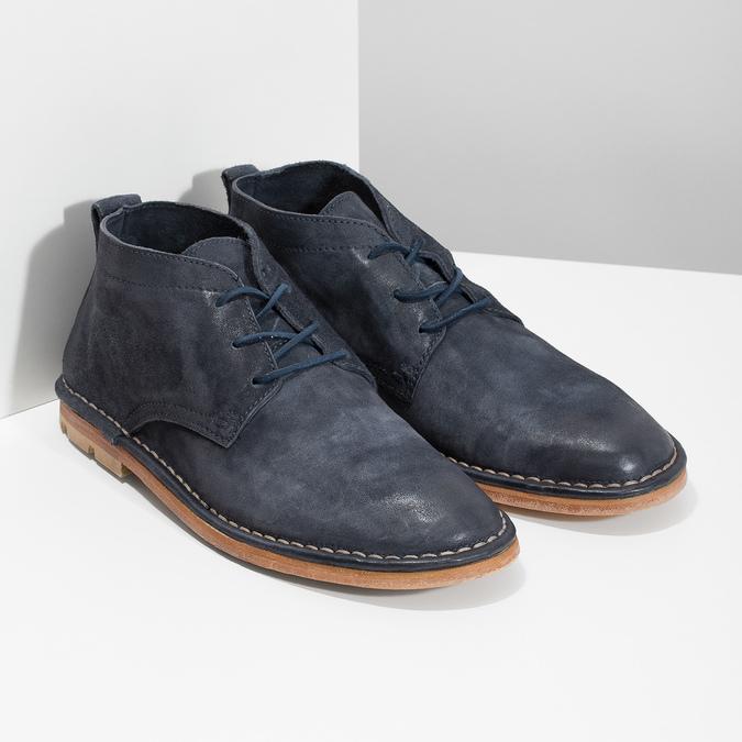 Kožená kotníčková obuv pánská modrá a-s-98, modrá, 826-9003 - 26