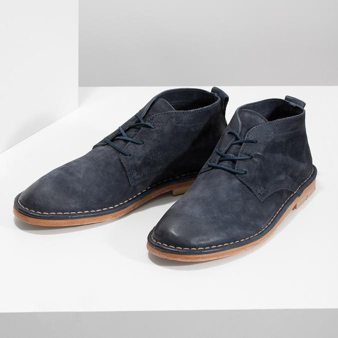 Kožená kotníčková obuv pánská modrá a-s-98, modrá, 826-9003 - 16