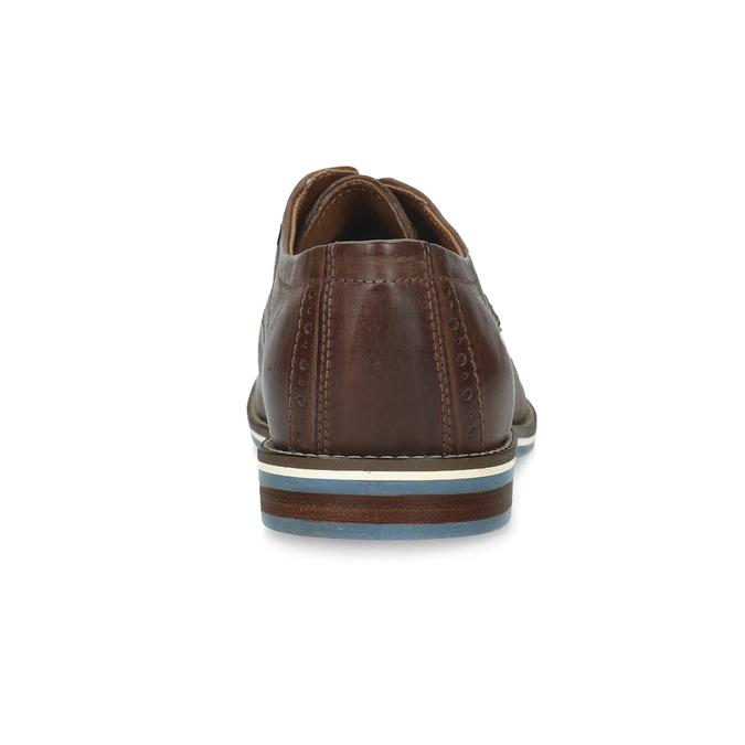 Hnědé kožené polobotky s pruhovanou podešví bata, hnědá, 826-4790 - 15