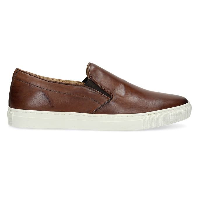 Pánská kožená Slip-on obuv bata, hnědá, 836-4601 - 19