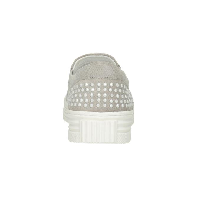 Kožená Slip-on obuv s perforací bata, šedá, 533-2600 - 16