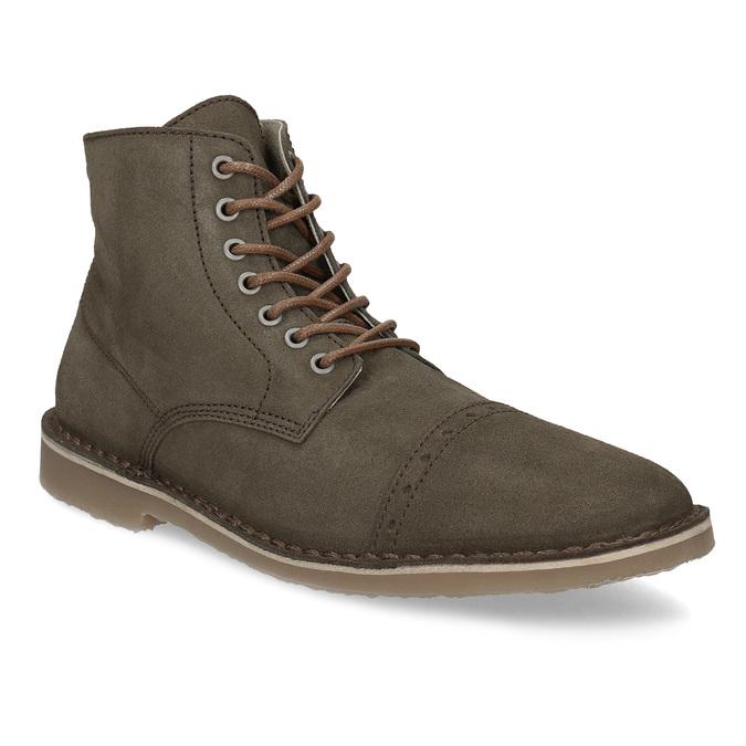 Kotníčková obuv z broušené kůže bata, khaki, 823-7629 - 13