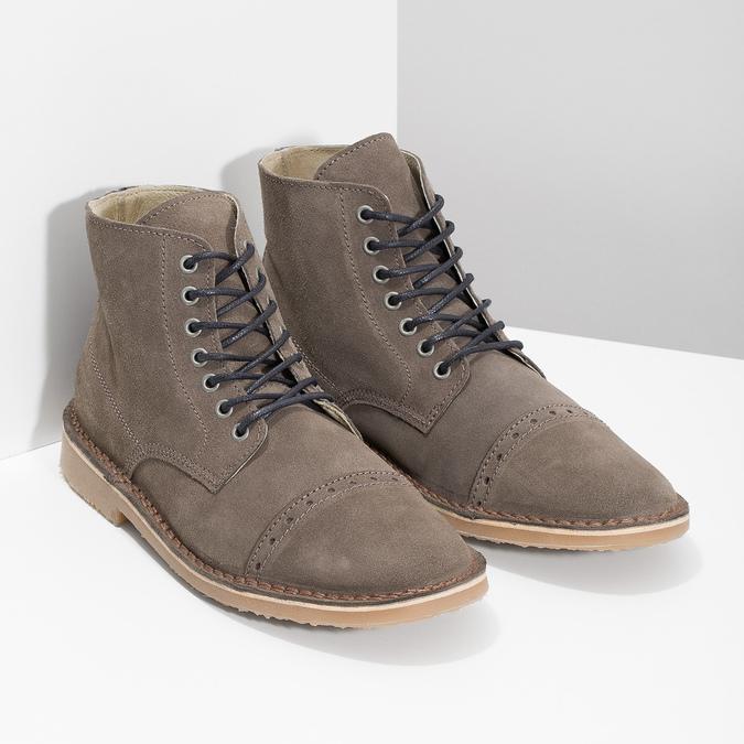 Pánská kožená kotníčková obuv bata, hnědá, 823-8629 - 26