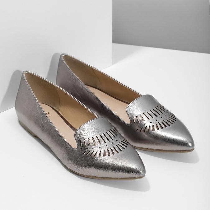 Dámská kožená obuv s perforací bata, 526-1659 - 26