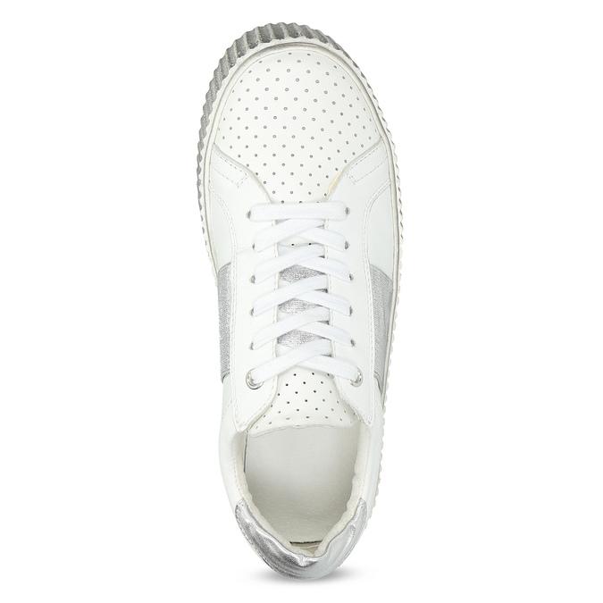 Kožené bílé tenisky s výraznou podešví bata, bílá, 546-1616 - 17