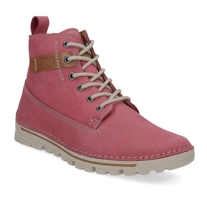 Kožená růžová kotníčková obuv weinbrenner, 594-5666 - 13