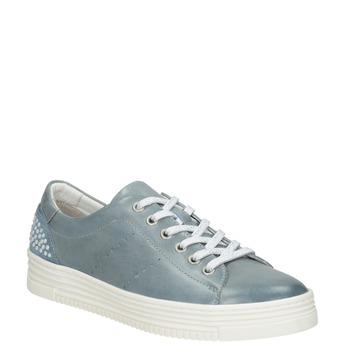 Dámské kožené tenisky s perličkami bata, modrá, 546-9606 - 13