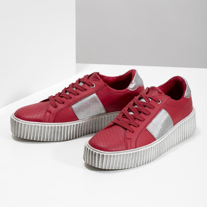 Červené kožené tenisky na flatformě bata, červená, 546-5616 - 16
