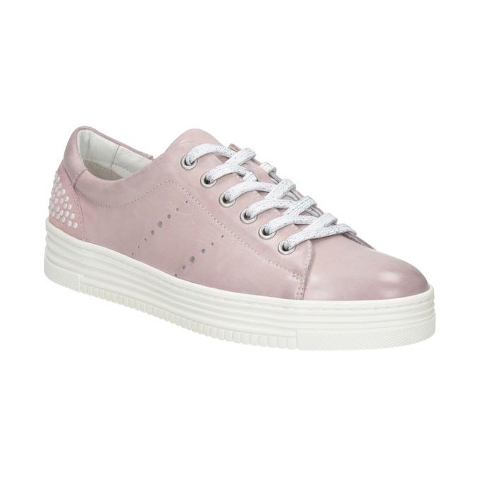 Kožené růžové tenisky s perličkami bata, růžová, 546-5606 - 13