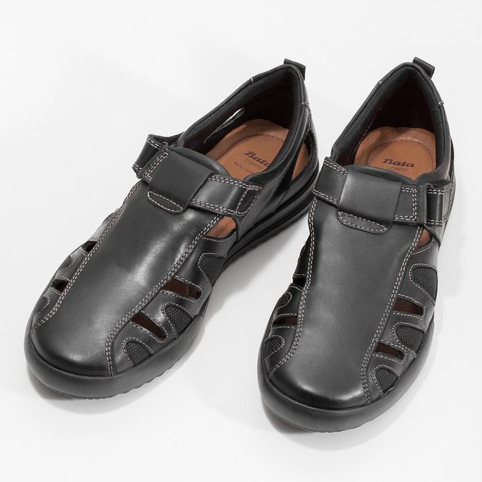 Pánské kožené sandály s prošitím comfit, černá, 856-6605 - 16