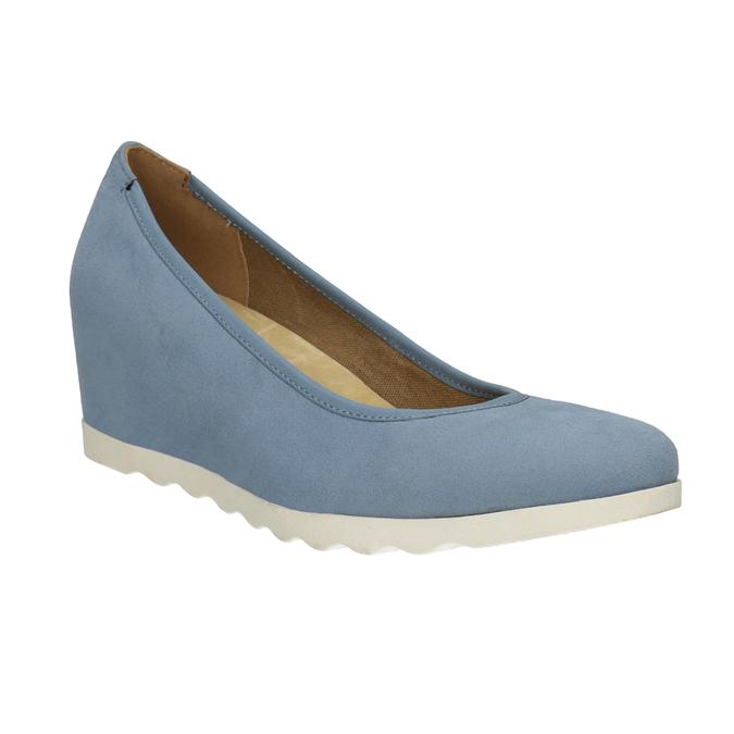 Baťa Dámské lodičky na klínku modré - Všechny boty  85688ffbf9