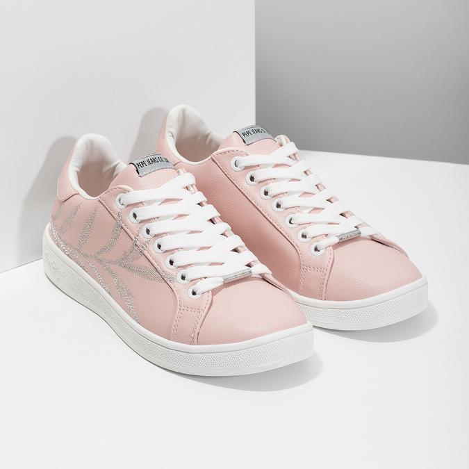 Růžové tenisky s výšivkou pepe-jeans, růžová, 546-5077 - 26
